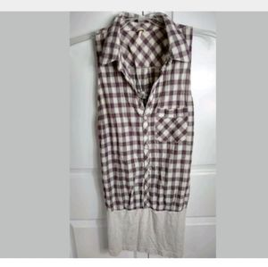 Free People Sleeveless tunic M Button Front Plaid
